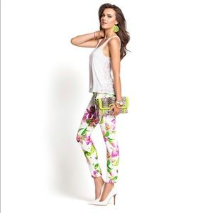 Guess Kate White Floral Tropical Jeans Legging
